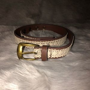 Brown and white lace belt